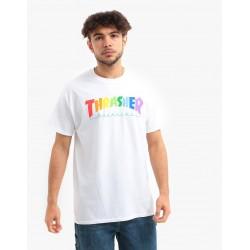 THRASHER TEE RAINBOW - WHITE