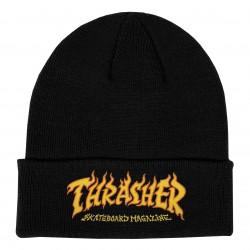 THRASHER BEANI FIRE LOGO - BLACK