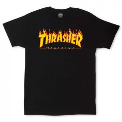THRASHER TEE FLAME - BLACK